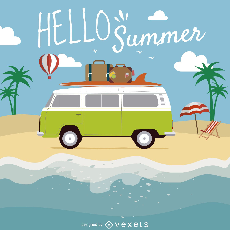 Hola ilustración de playa de verano