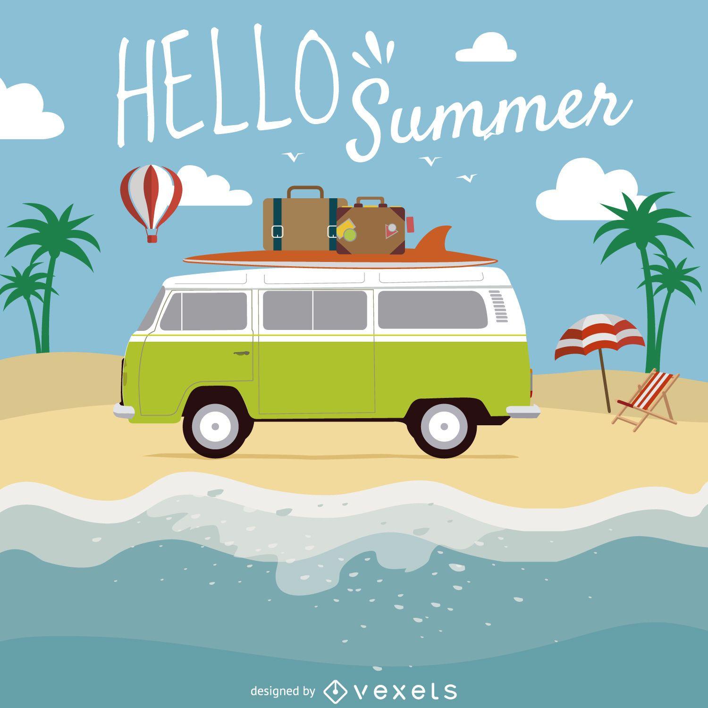 Olá ilustração de verão praia