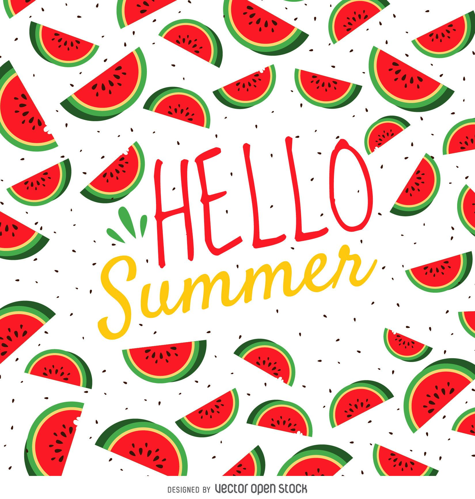 Summer watermelon poster - Vector download