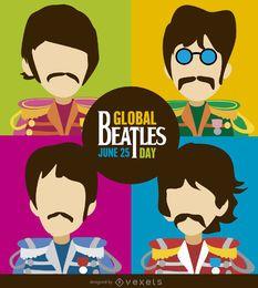 ilustración de dibujos animados de los Beatles Day