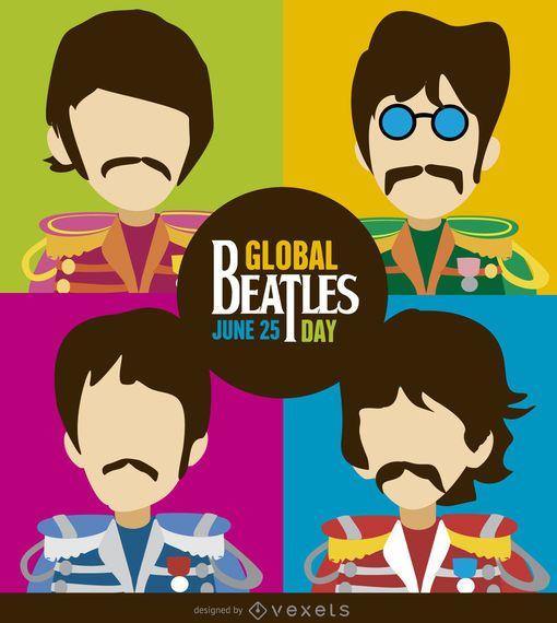 Ilustração dos desenhos animados de dia dos Beatles