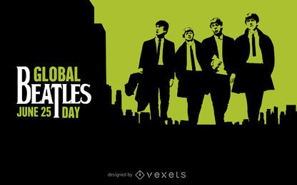Global negro Beatles Day y verde impresiones
