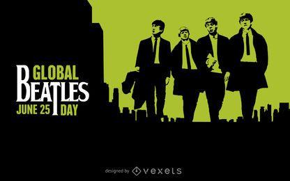 preto Dia Beatles global e poster verde