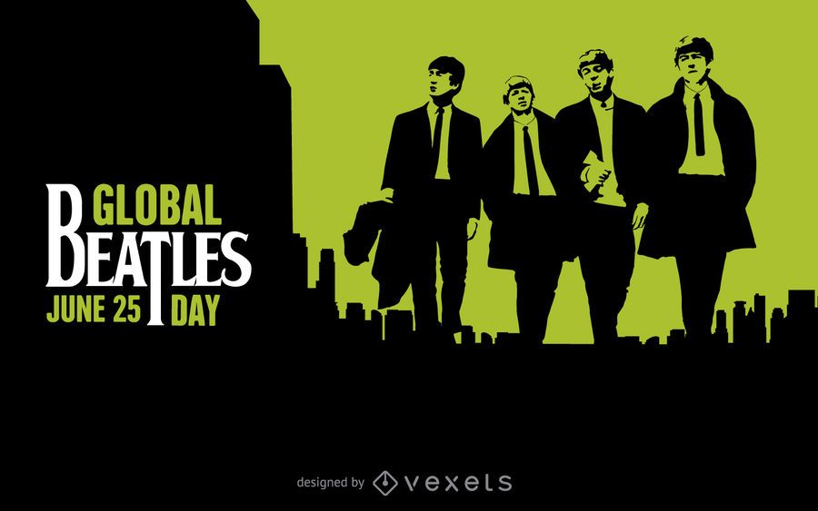 Cartel negro y verde del Día Global de los Beatles