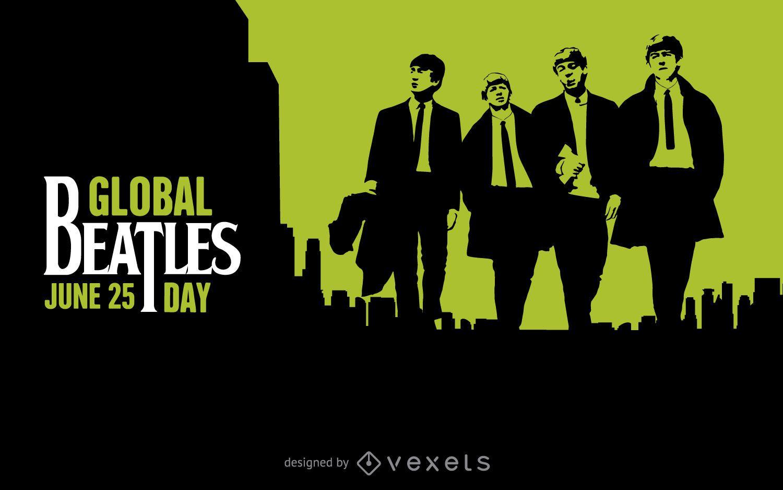 Cartel del día mundial de los Beatles en negro y verde.