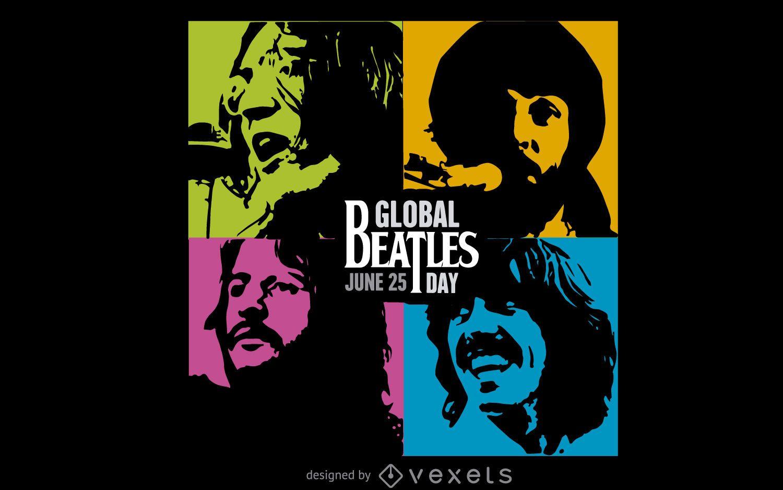 Banner colorido del día mundial de los Beatles