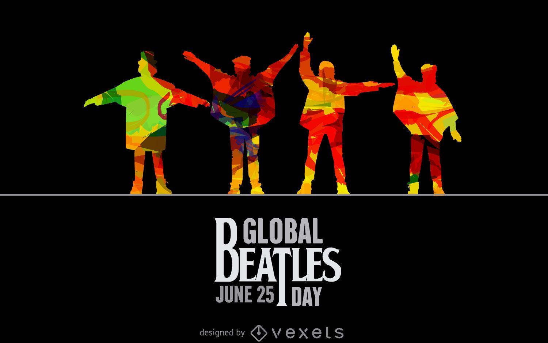 Silhuetas de ajuda do Dia Global dos Beatles