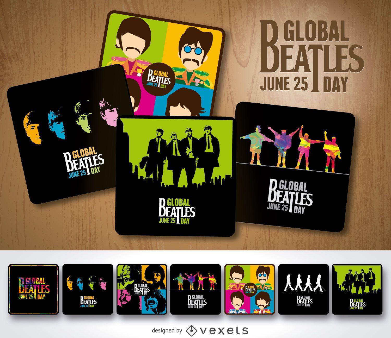 Conjunto de pôsteres do Dia Global dos Beatles