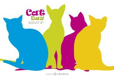 Cat Day bunte Silhouetten
