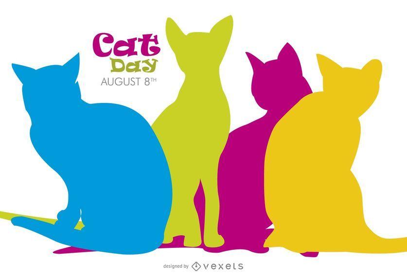 Siluetas coloridas del día del gato