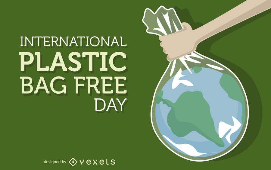 Plastic bag free day illustration
