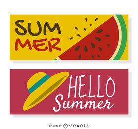 Feliz banner de verano conjunto con ilustraciones