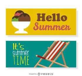 Conjunto de banner de verano feliz