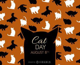 Silhuetas de dia de gato de Halloween