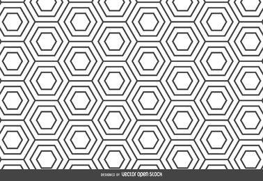 Cenário de padrão linear de hexágono