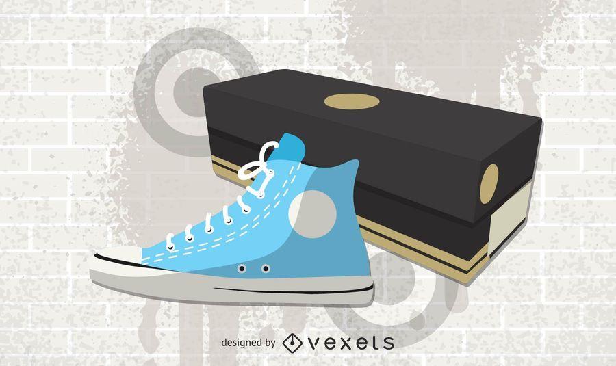 Zapato converse y caja.