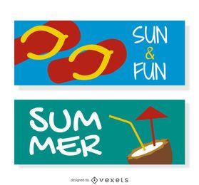 Conjunto de banner de praia de verão