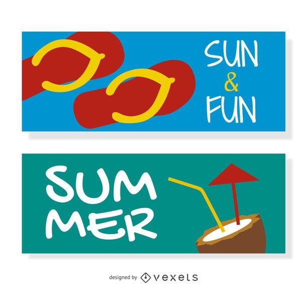Conjunto de banners de playa verano