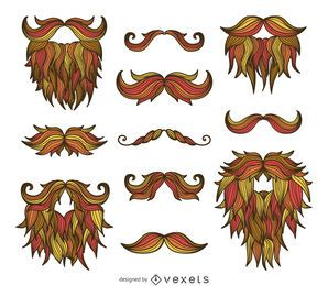 Hipster hand drawn moustaches beards