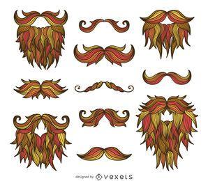 Hipster mão desenhada bigodes barbas