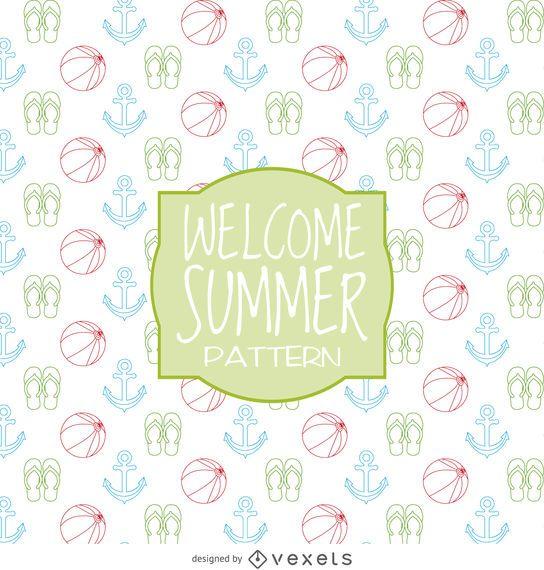 Diseño de patrón de elementos de verano