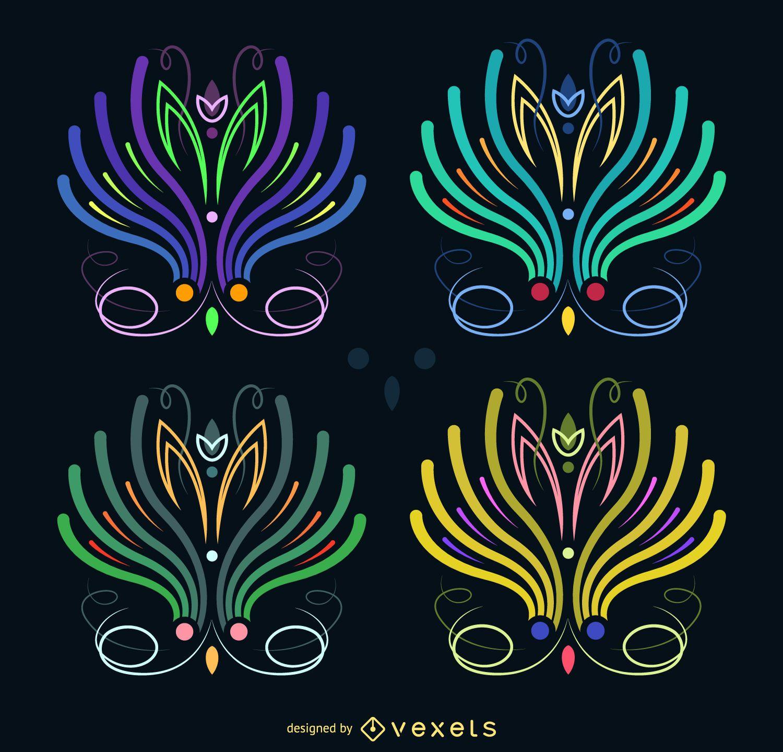 Conjunto ilustrado de rayas