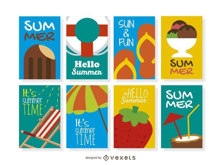 Colección de 8 diseños de verano.
