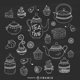 Handgezeichnetes Tee-Zeit-Set mit Kreide