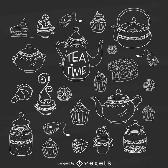 Kit de tempo de chá de giz desenhados à mão