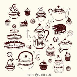 Conjunto de tempo de chá desenhados à mão
