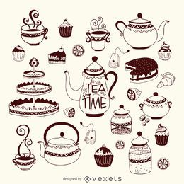 Hand-drawn tea time set