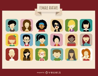 18 weibliche Avatar-Sammlung