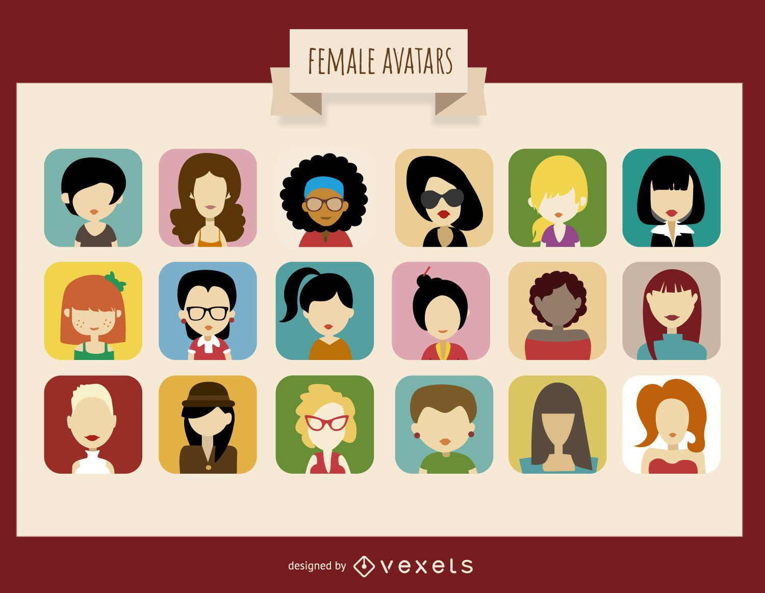 18 female avatar collection