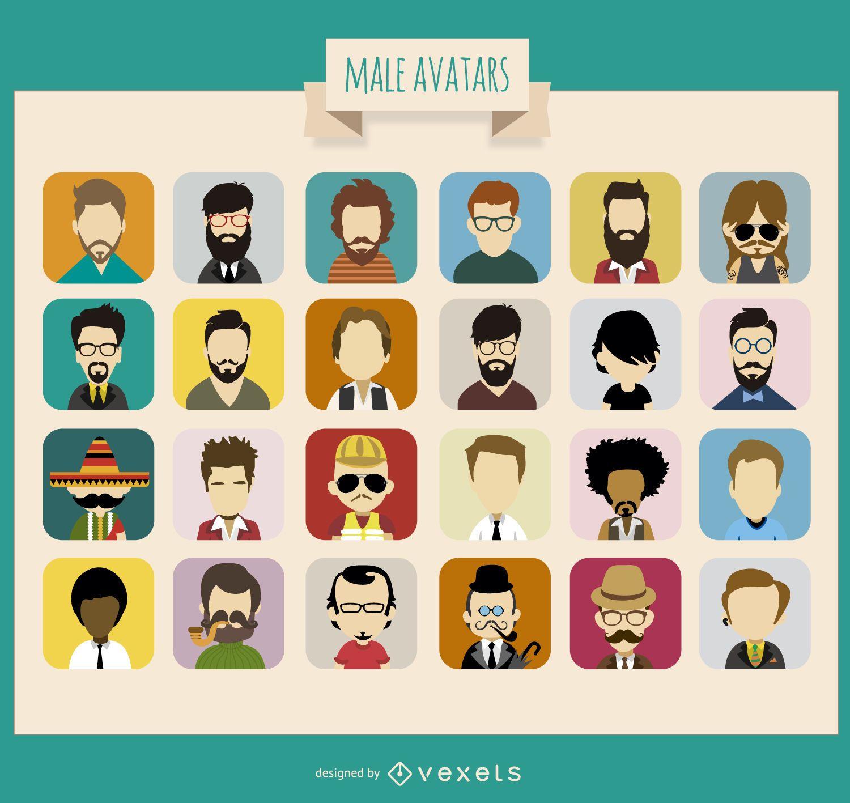 Coleção de 24 avatares masculinos