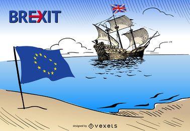 Brexit - Reino Unido Diseño de las hojas Unión Europea