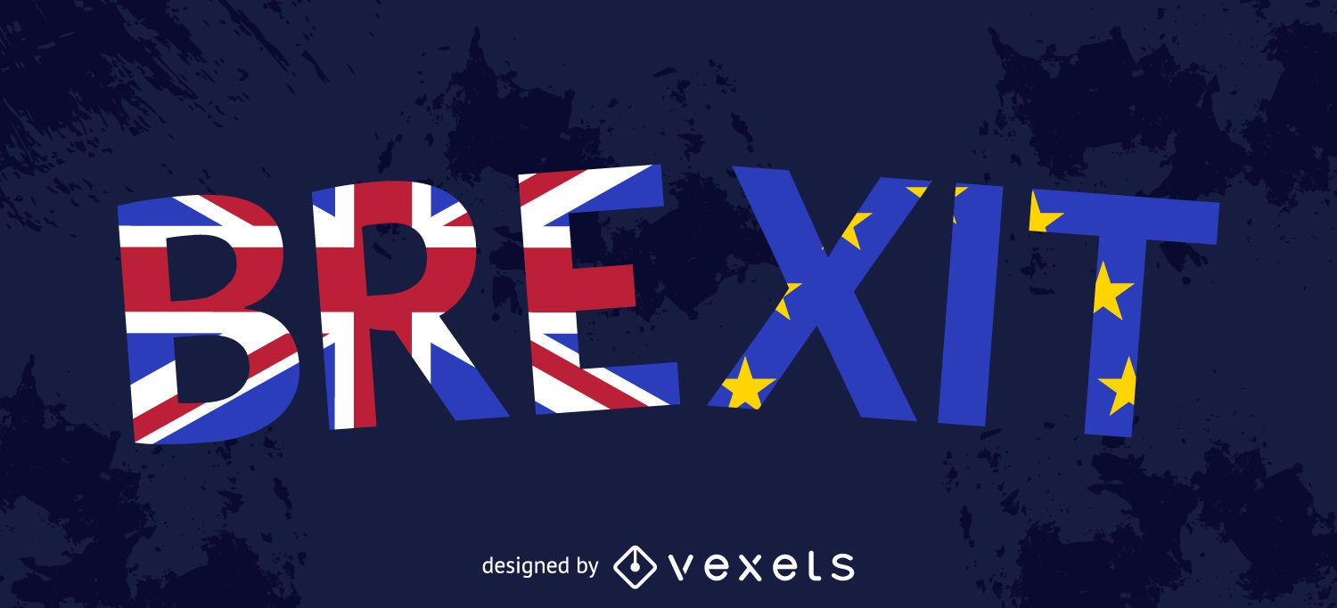 Brexit lettering with flags