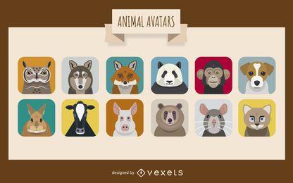 Conjunto de avatar de animales
