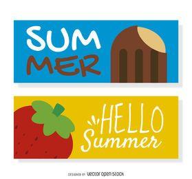 Conjunto de banner de celebração de verão