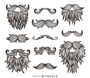 Dibujo de barbas bigotes hipster