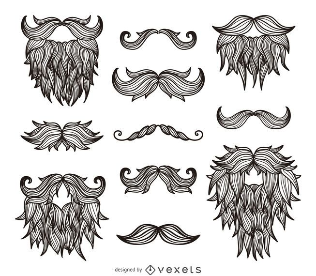 Hipster bigotes barbas dibujo