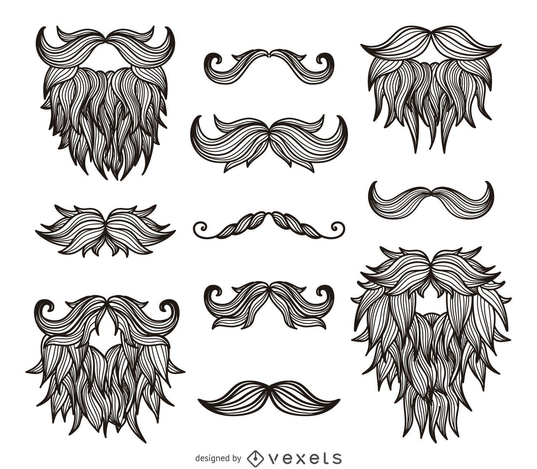 Hipster Bigotes Barbas Dibujo Descargar Vector