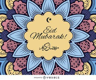 Eid Mubarak design colorido
