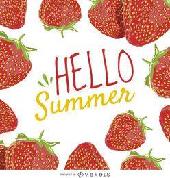 Cartel de fresa de verano