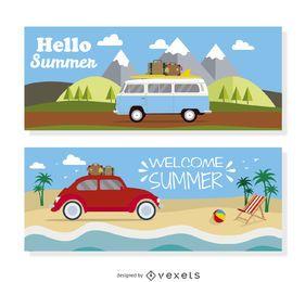 Ilustração de viagem de veículo no verão