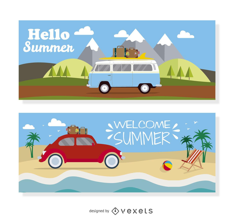 Ilustración de viaje en vehículo de verano