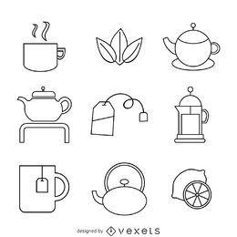 ícones chá lineares definir