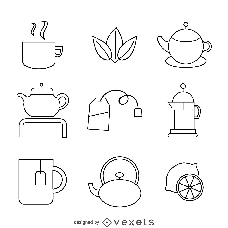 Conjunto linear de ícones de chá