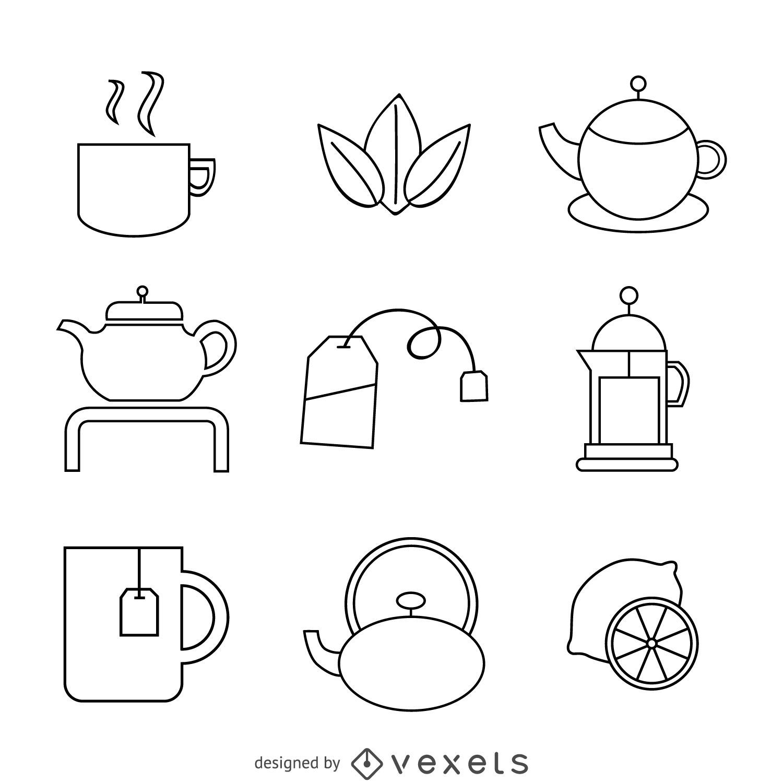 Linear tea icons set