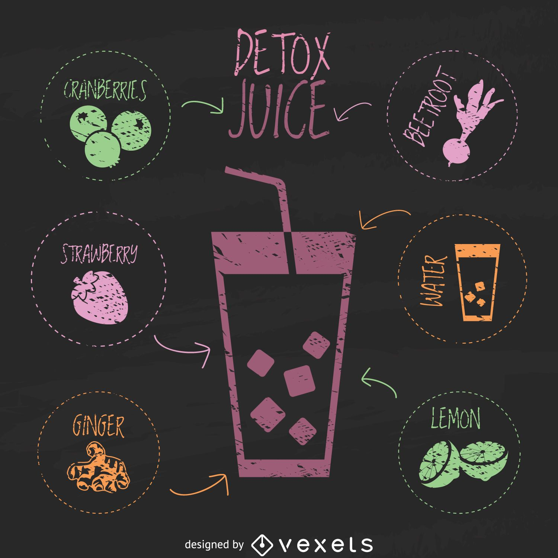 Detox juice chalk illustration