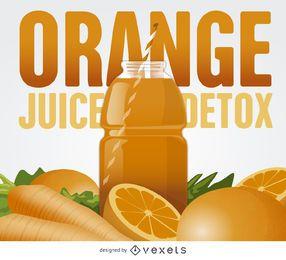 Ilustración de desintoxicación de jugo de naranja